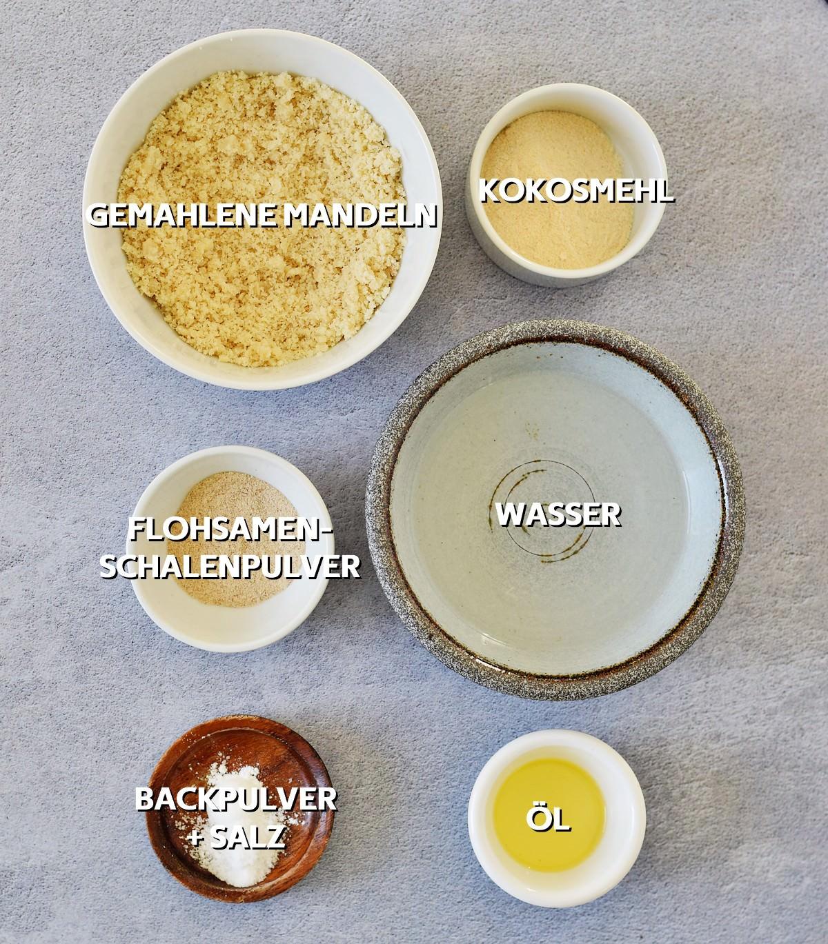 Zutaten für gesunde Low Carb Tortillas