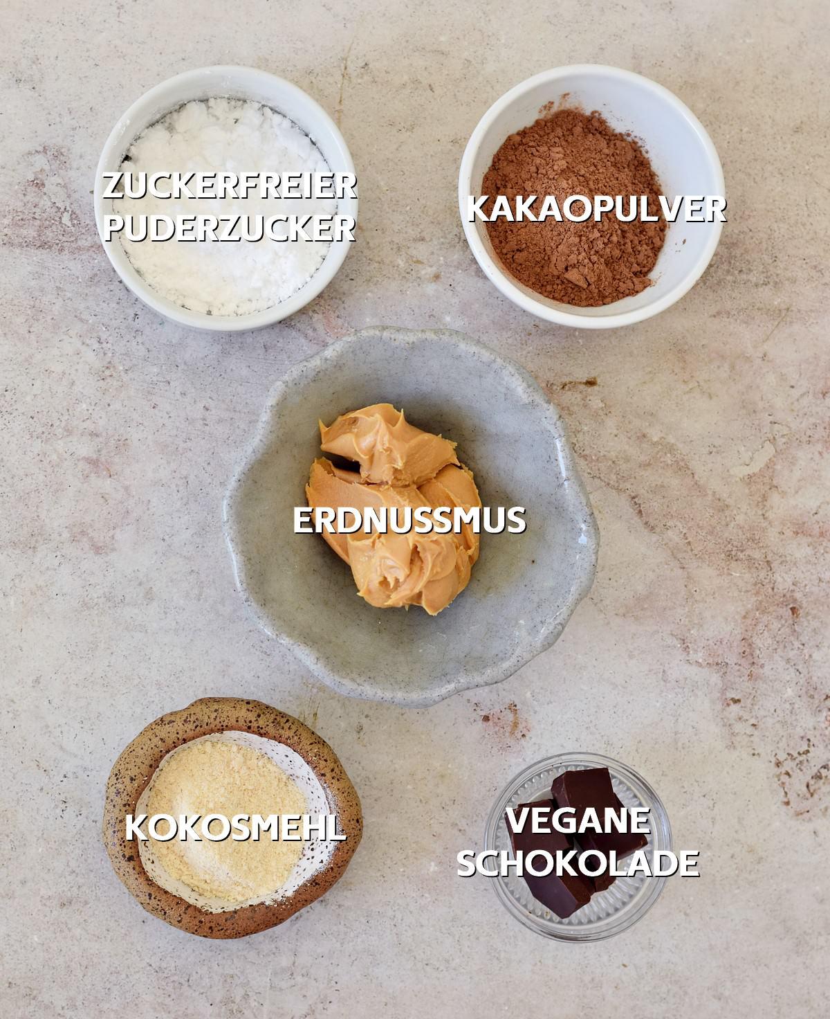 Zutaten für zuckerfreie Schokokugeln