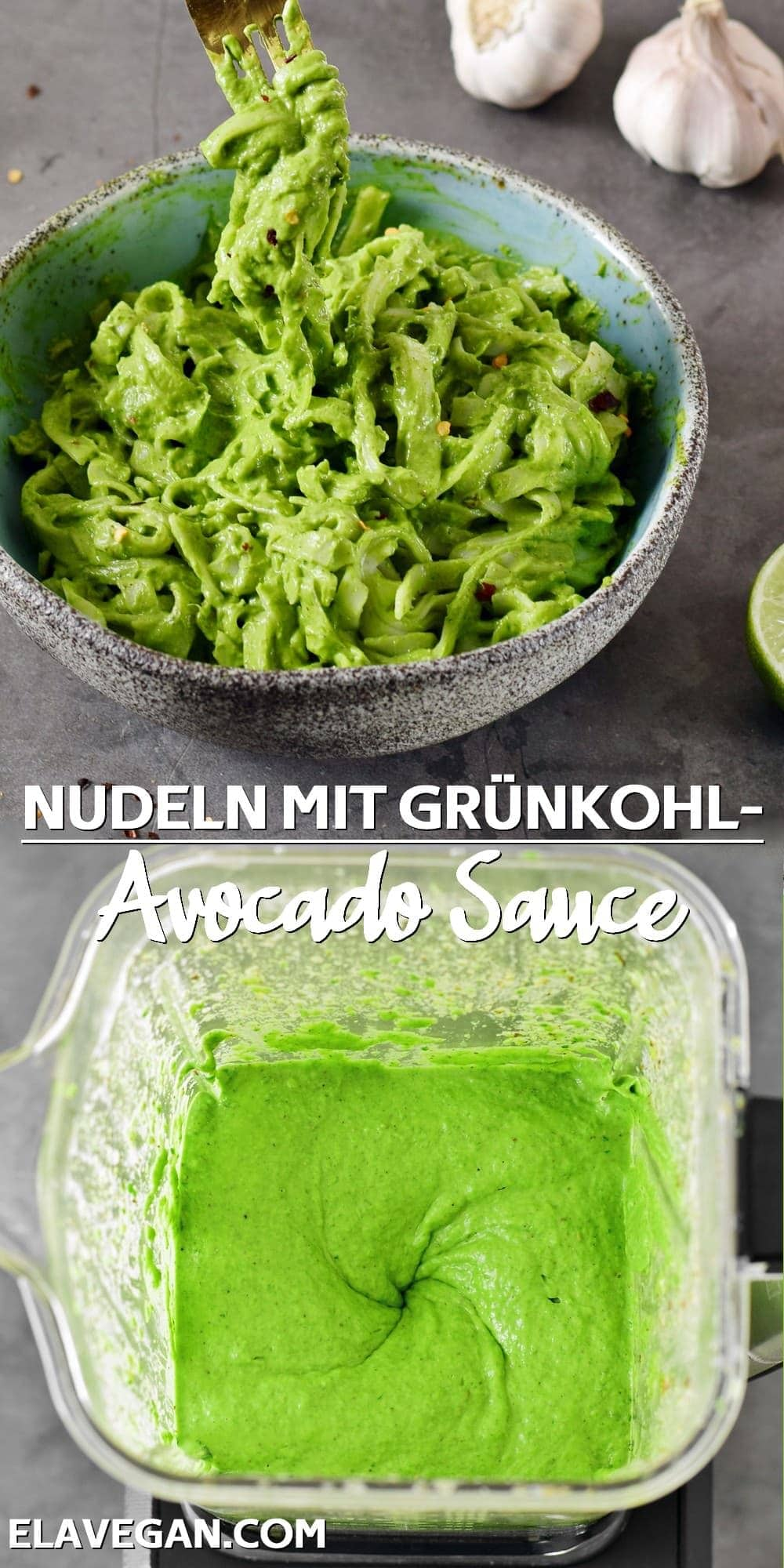 collage Nudeln mit Grünkohl Avocado Sauce