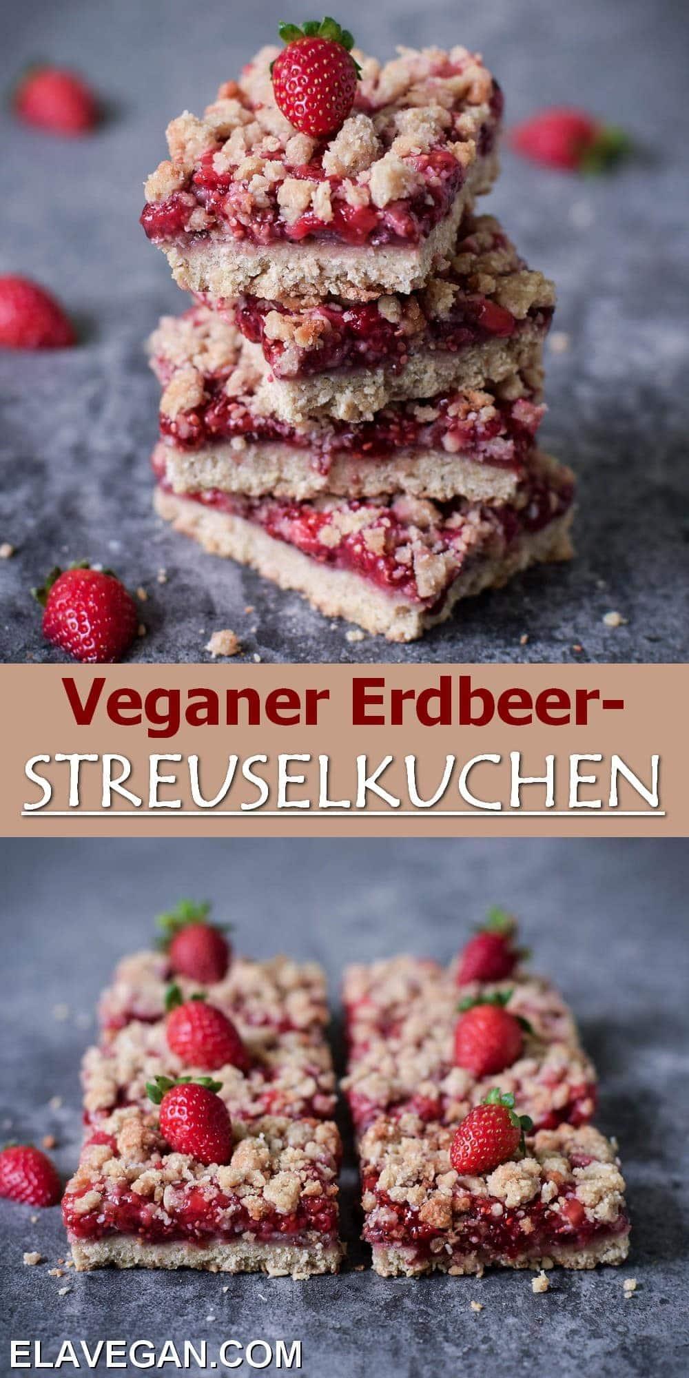 Pinterest Collage veganer Erdbeer-Streuselkuchen