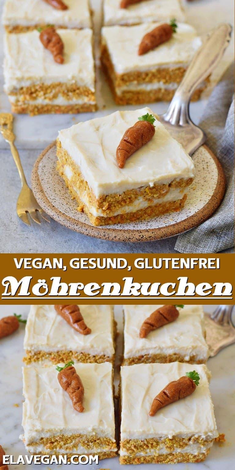 Pinterest collage vegan glutenfrei gesund Möhrenkuchen