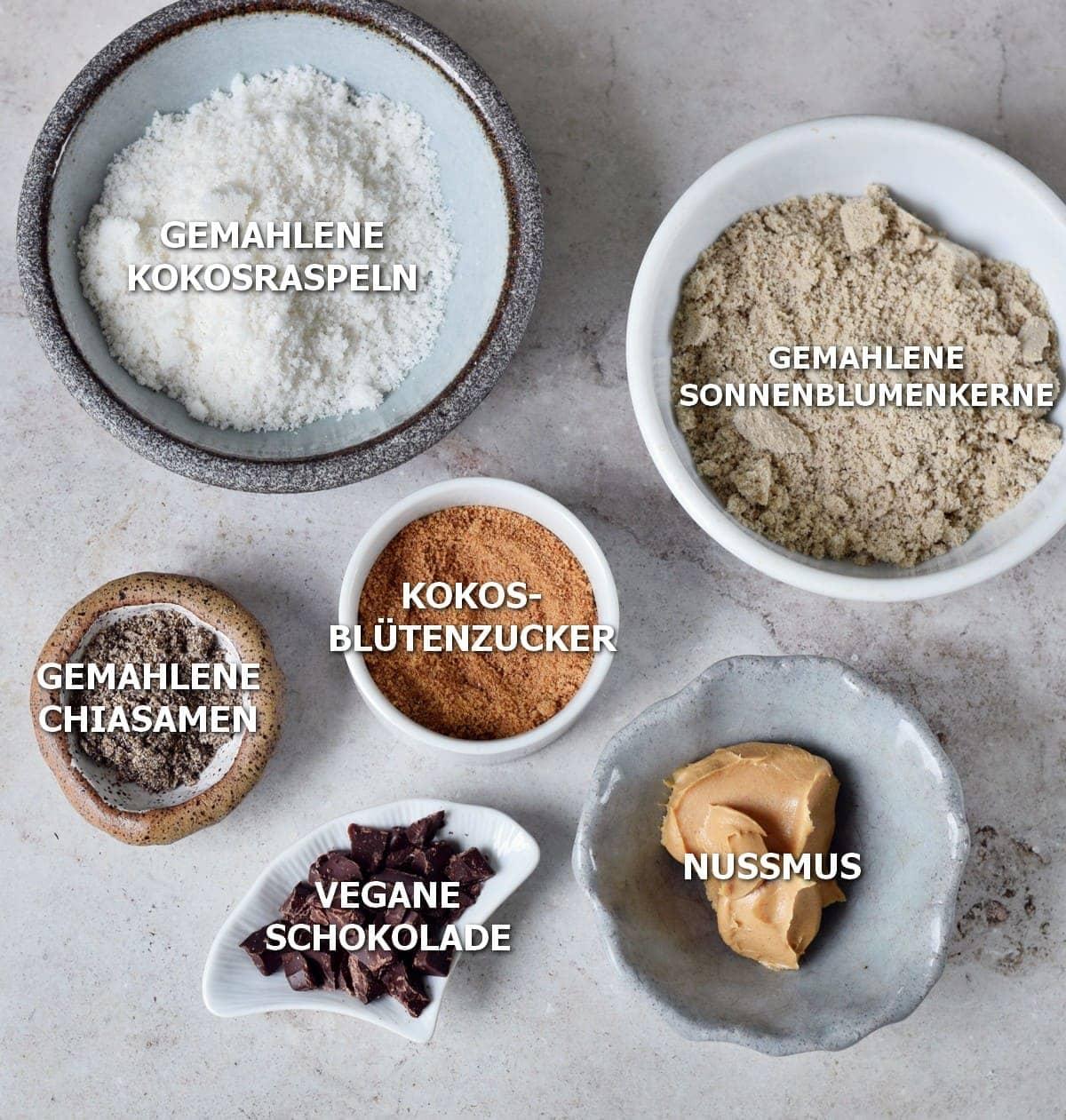 Zutaten für gesunde vegane Kekse