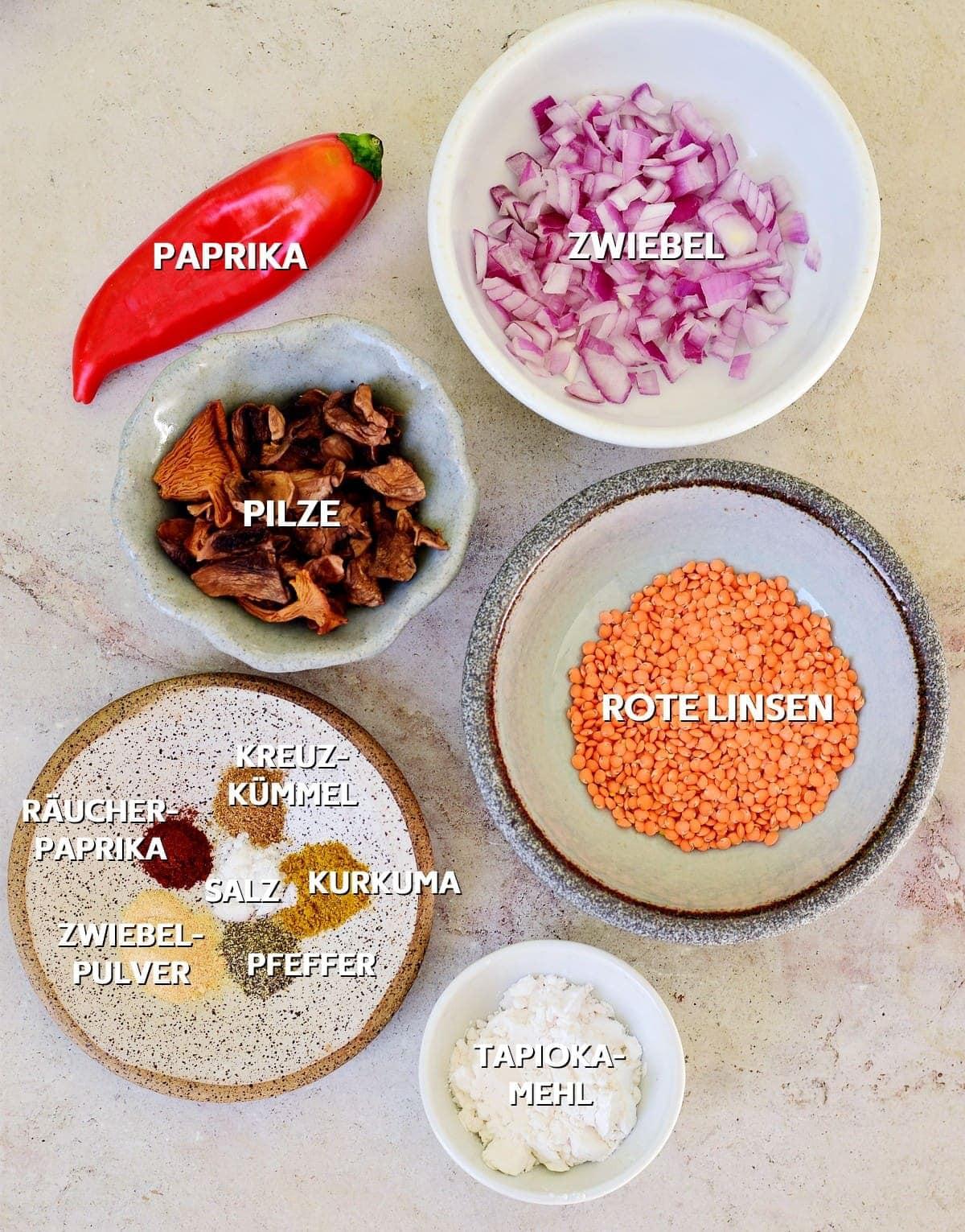 Zutaten für veganes Gemüse-Omelett