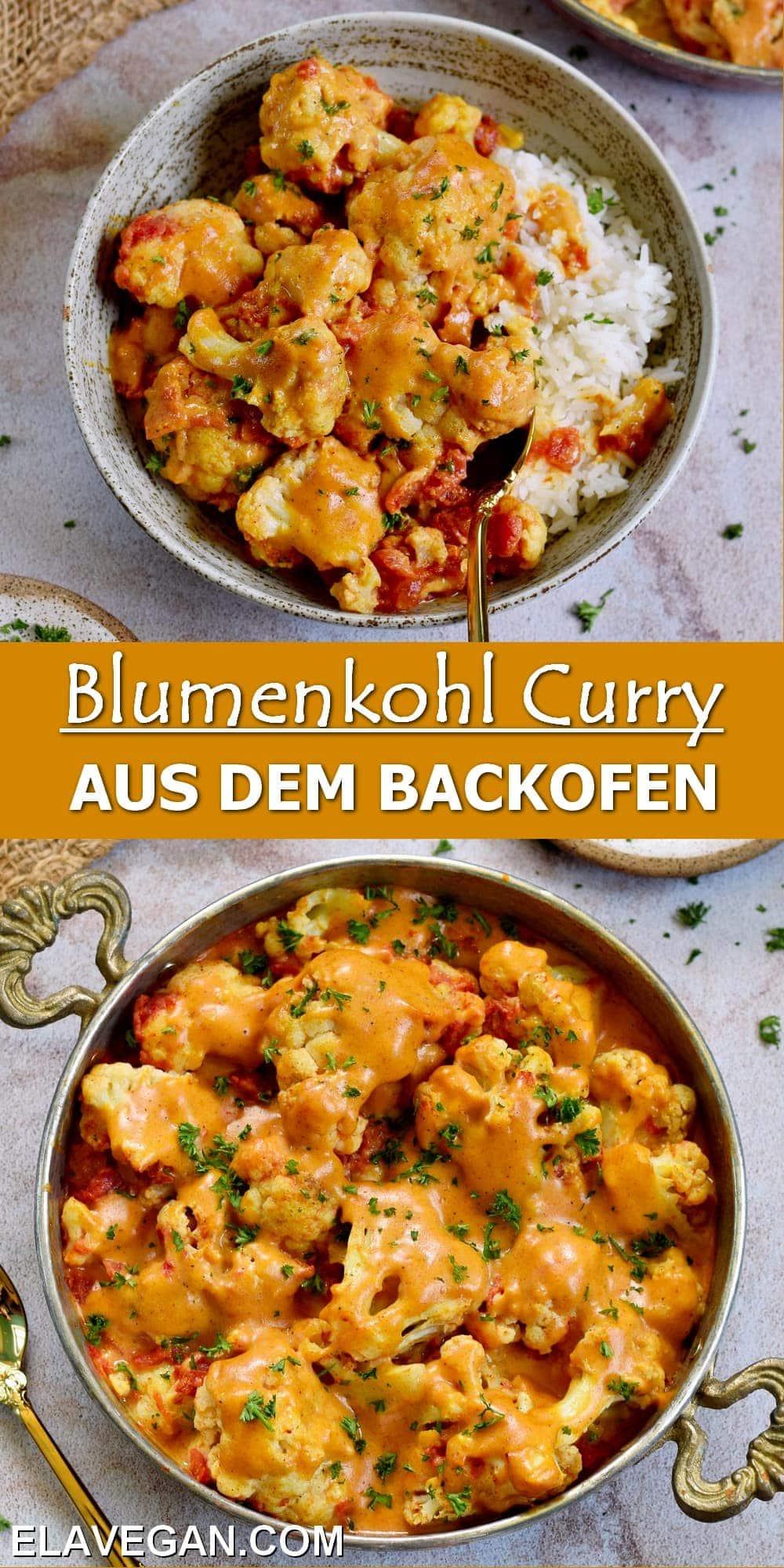 Pinterest Collage Blumenkohl Curry aus dem Backofen