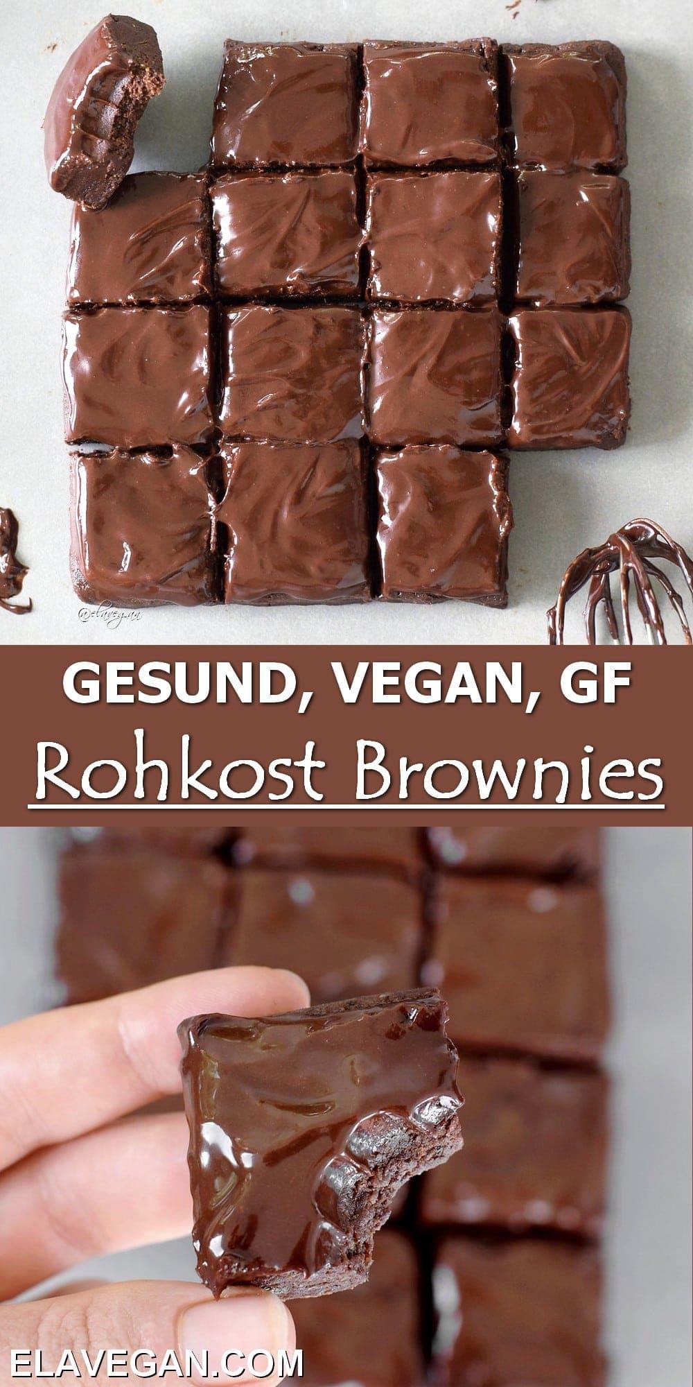 Pinterest Collage gesund, vegan, GF, Rohkost Brownies