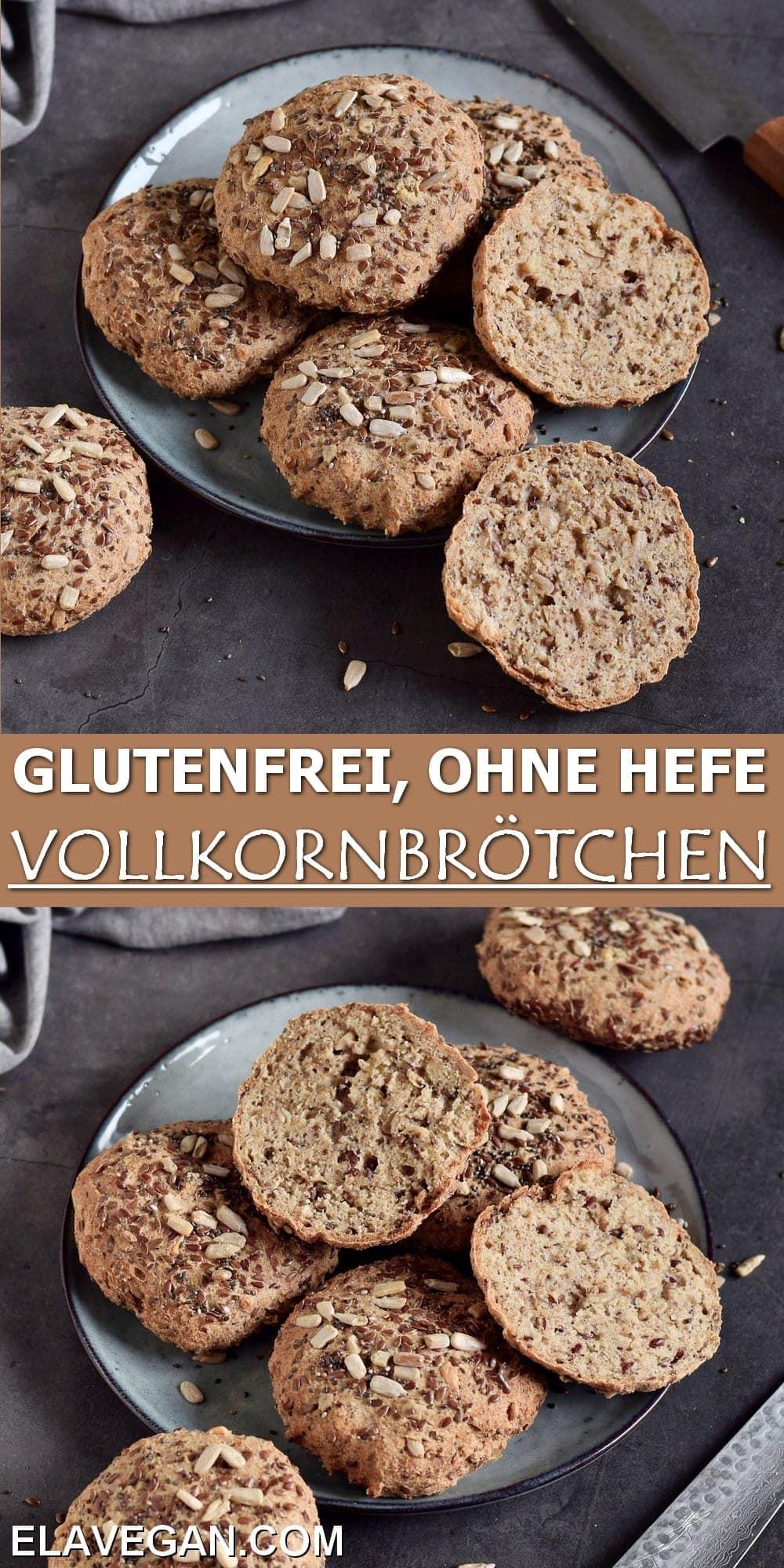 Pinterest Collage glutenfrei ohne Hefe Vollkornbrötchen