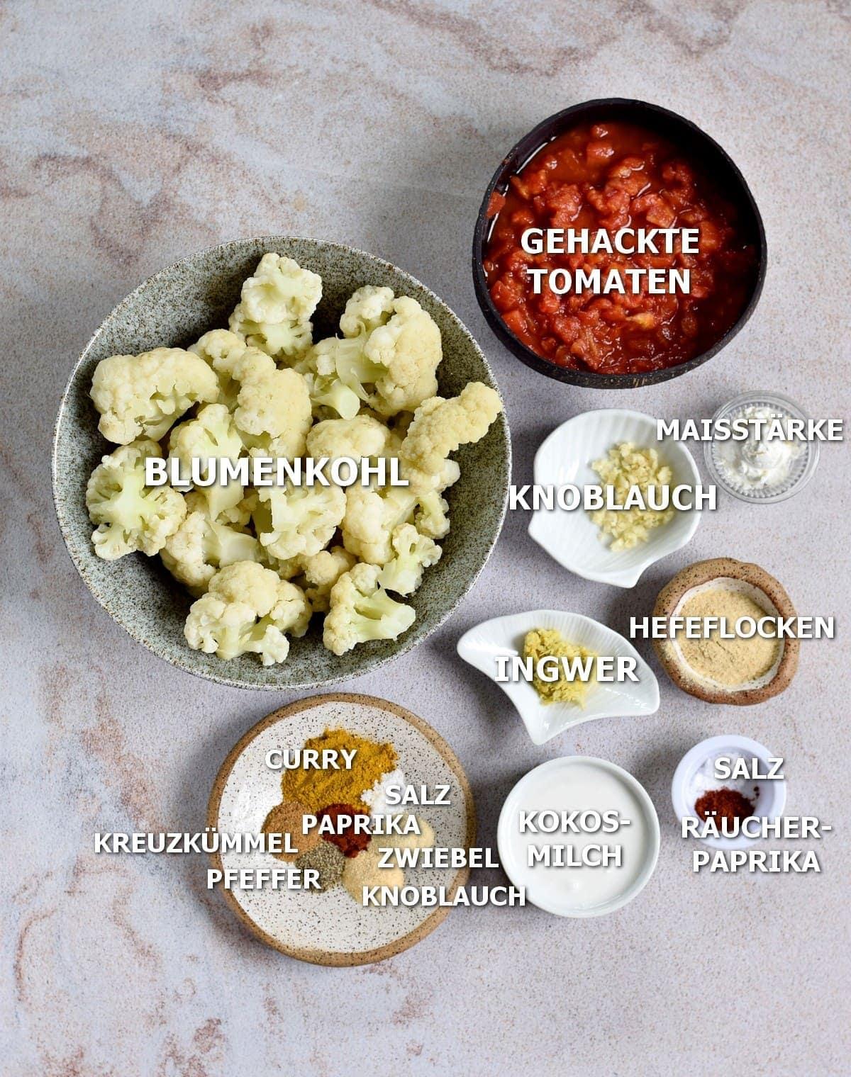 Zutaten für Blumenkohl Curry Auflauf