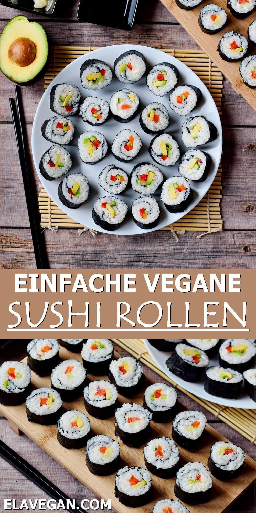Pinterest Collage einfache vegane Sushi Rollen