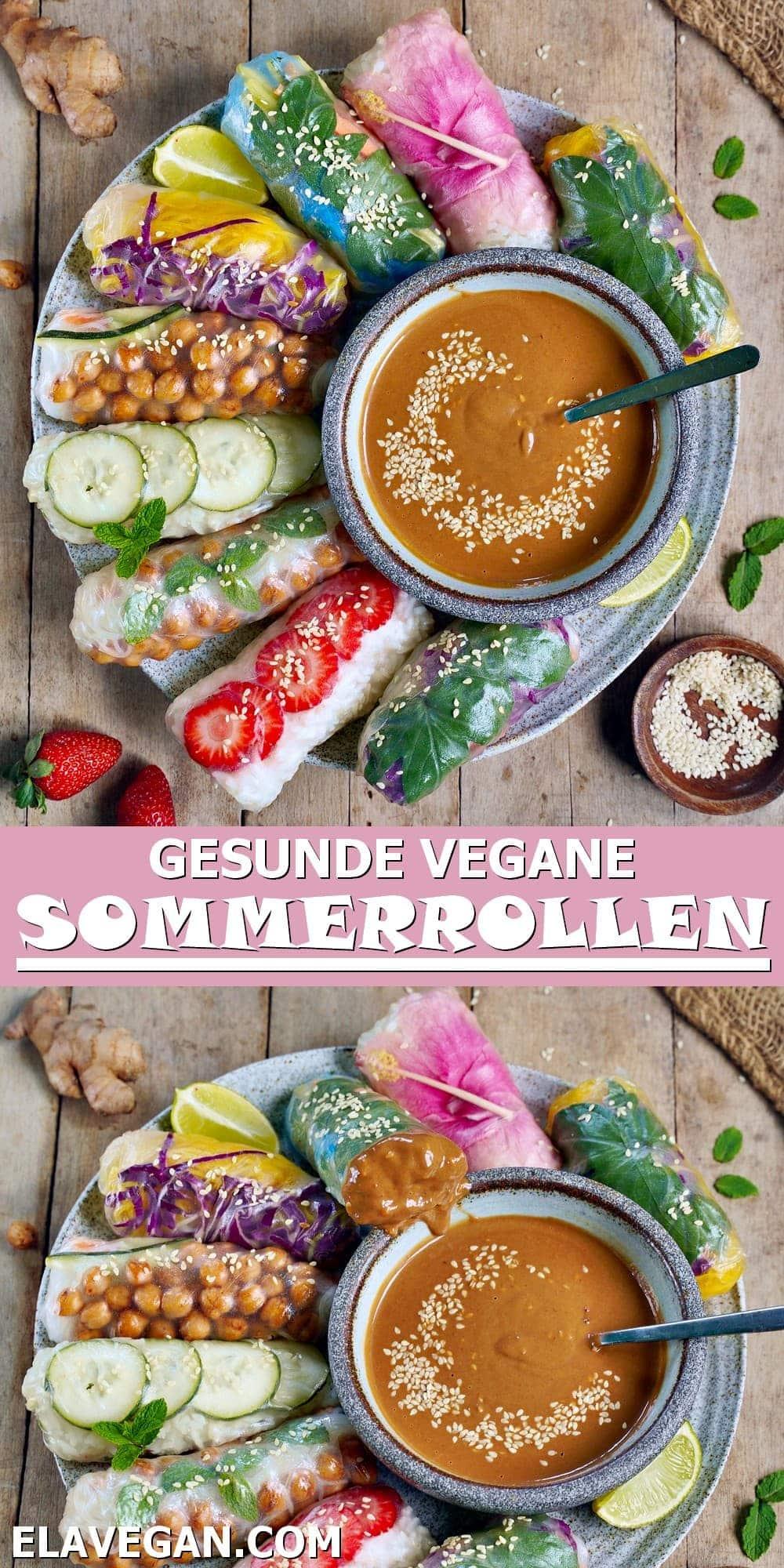 Pinterest Collage gesunde vegane Sommerrollen