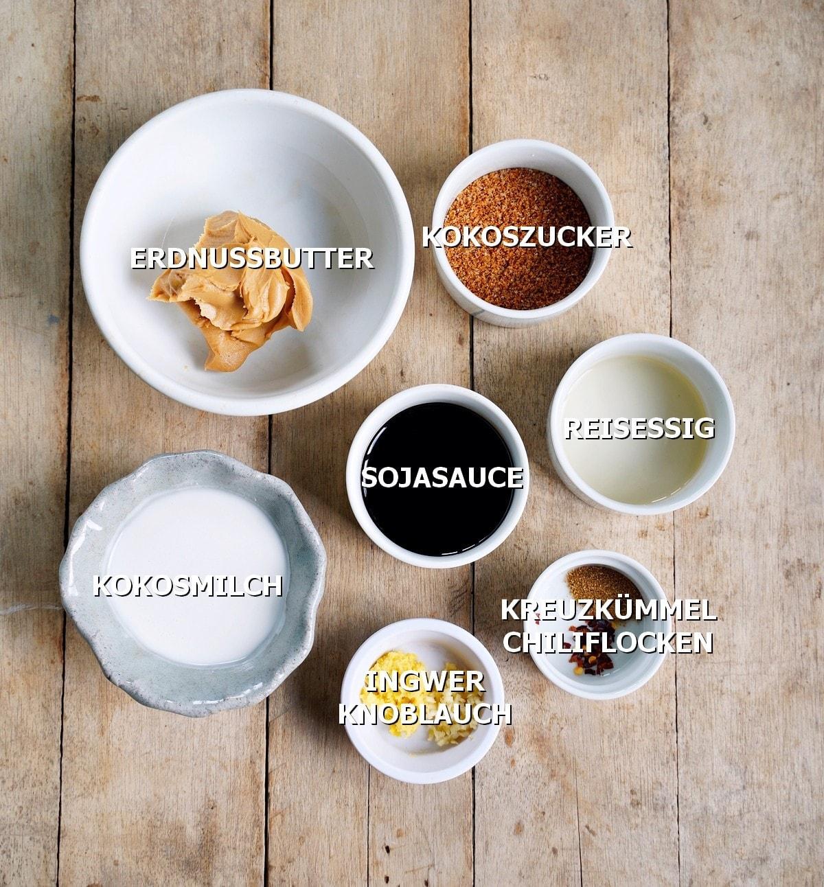 Zutaten für Erdnusssoße