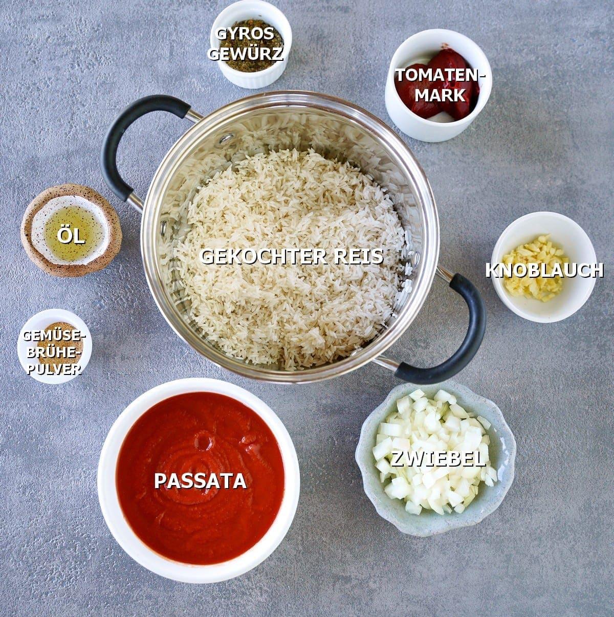Zutaten für Reis mit Tomatensauce