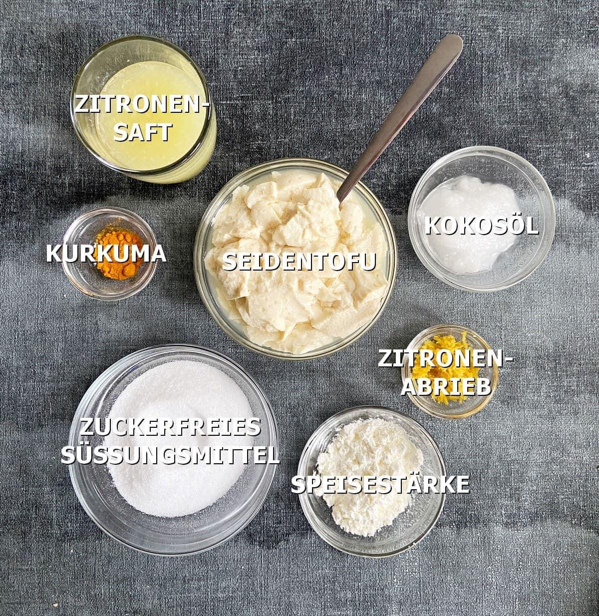 Zutaten für vegane Käsekuchen-Creme