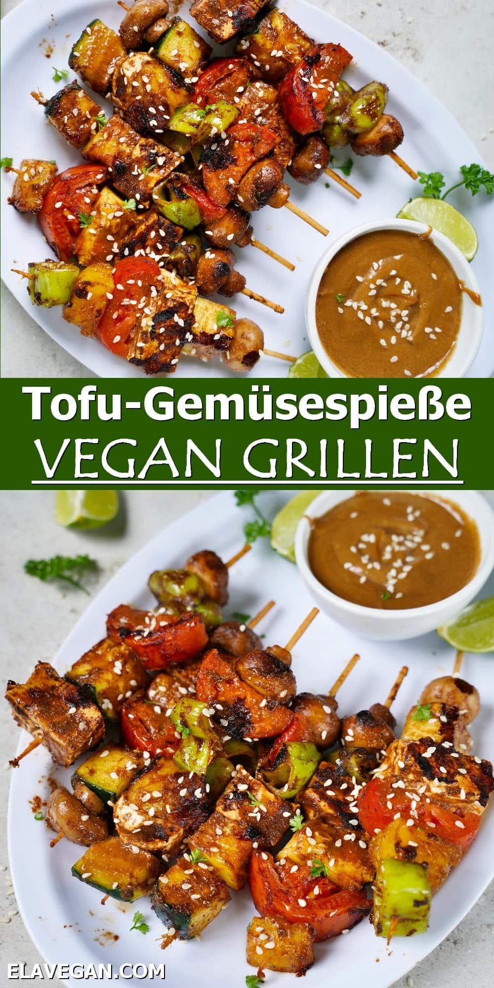Pinterest Collage Tofu-Gemüsespieße vegan grillen