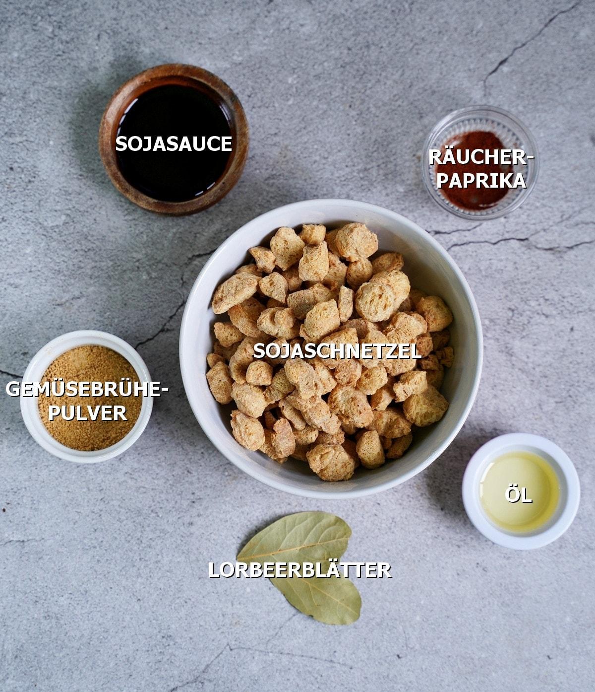 Zutaten für Sojageschnetzeltes