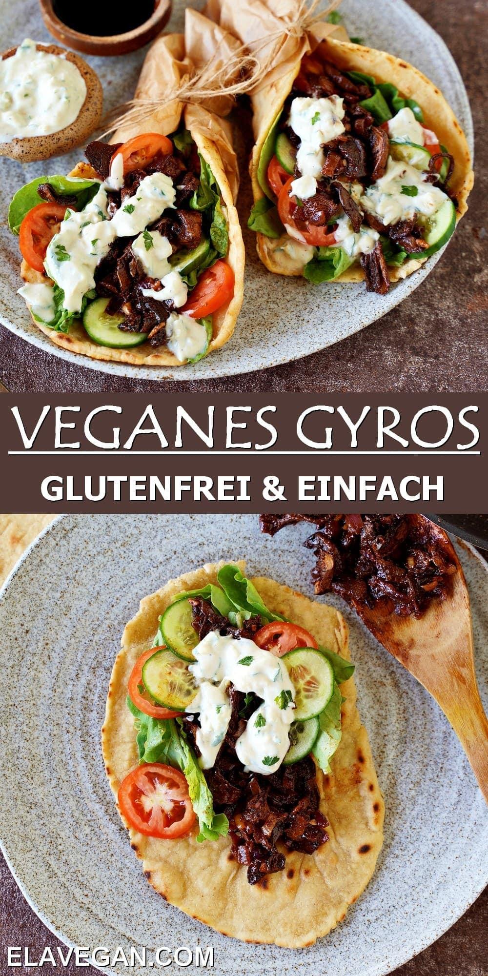 collage veganes Gyros glutenfrei & einfach
