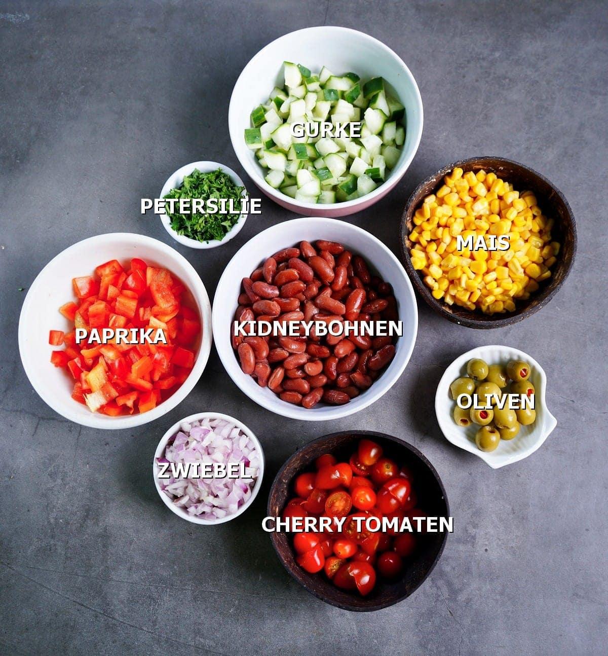 Gemüse verwendet in Bohnensalat