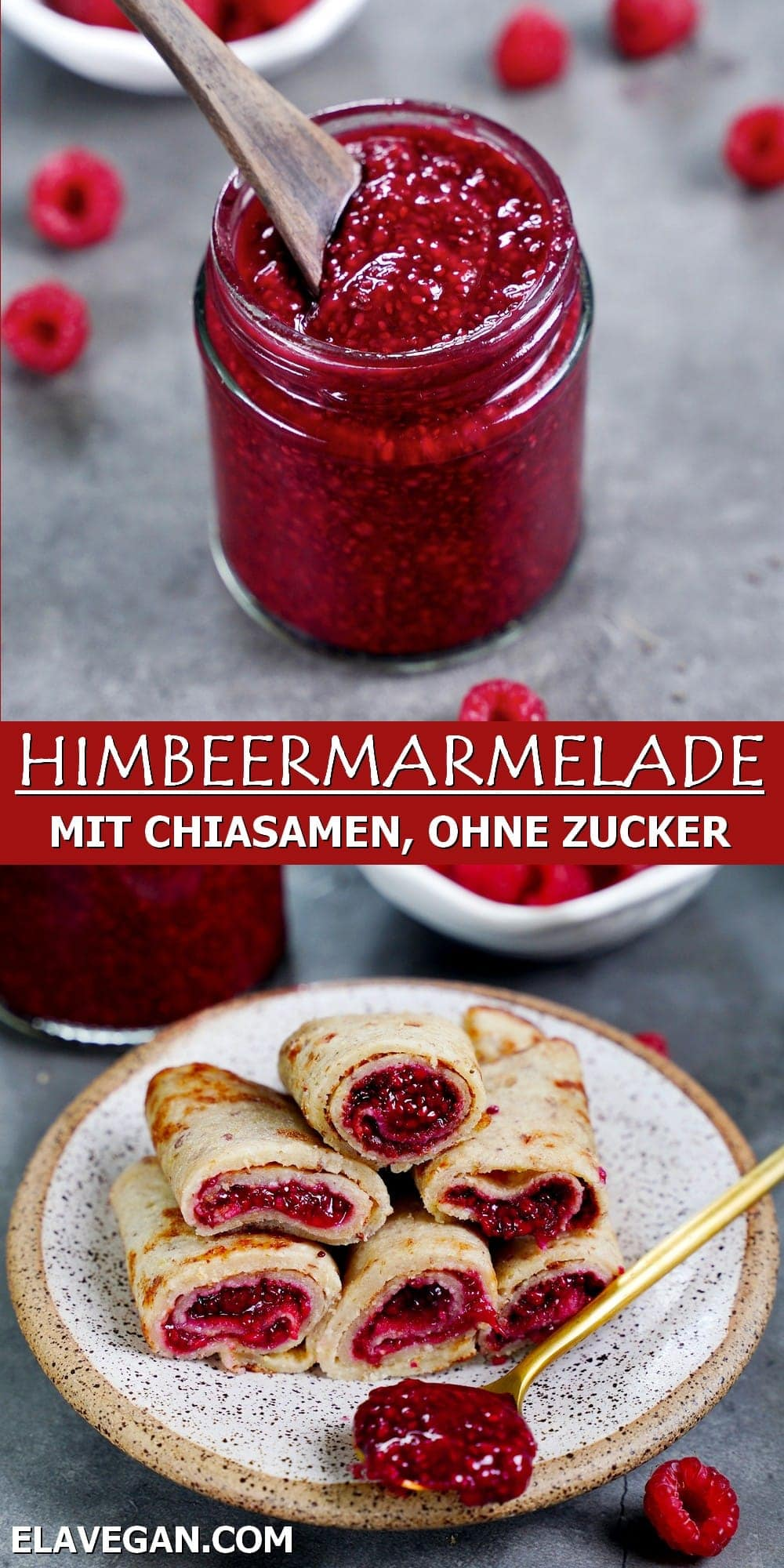 Pinterest Collage Himbeermarmelade mit Chiasamen ohne Zucker