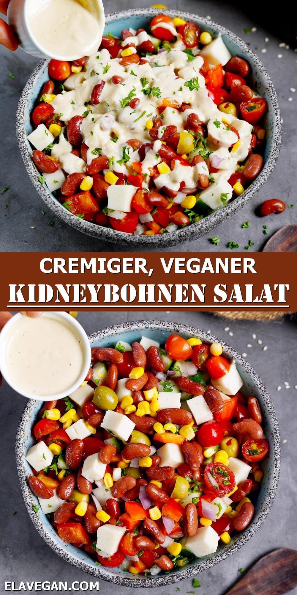 Pinterest Collage cremiger veganer Kidneybohnen-Salat