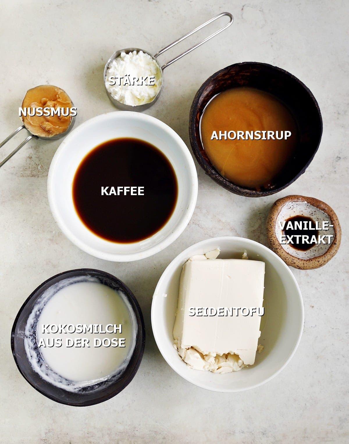 Zutaten für cremige Kuchenschicht