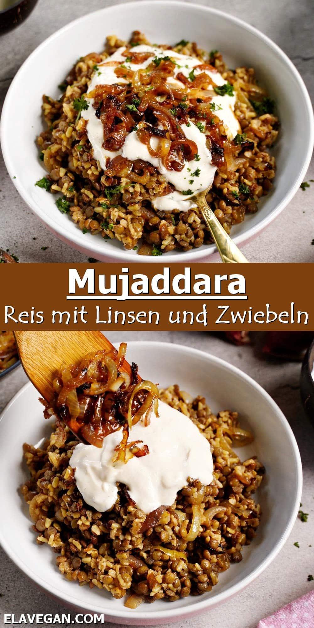 Pinterest Collage Mujaddara Reis mit Linsen und Zwiebeln