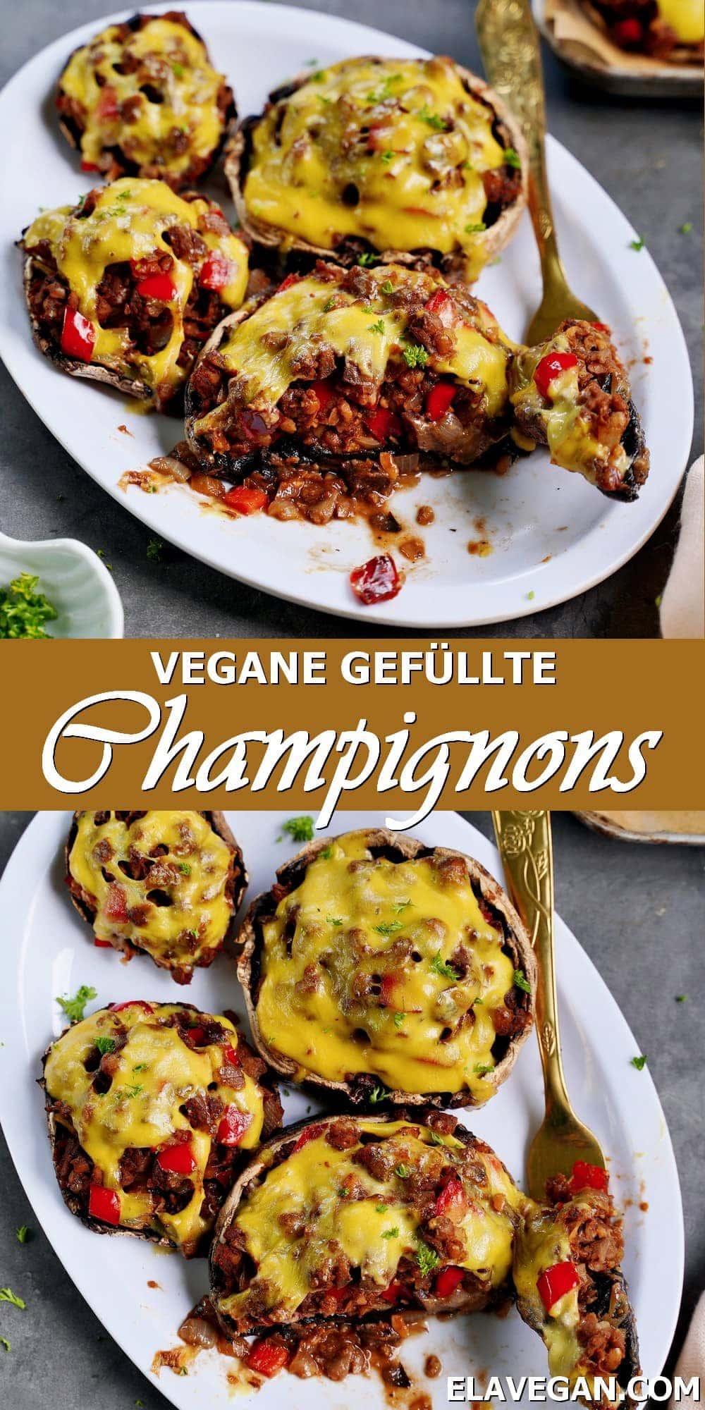Pinterest Collage vegane gefüllte Champignons