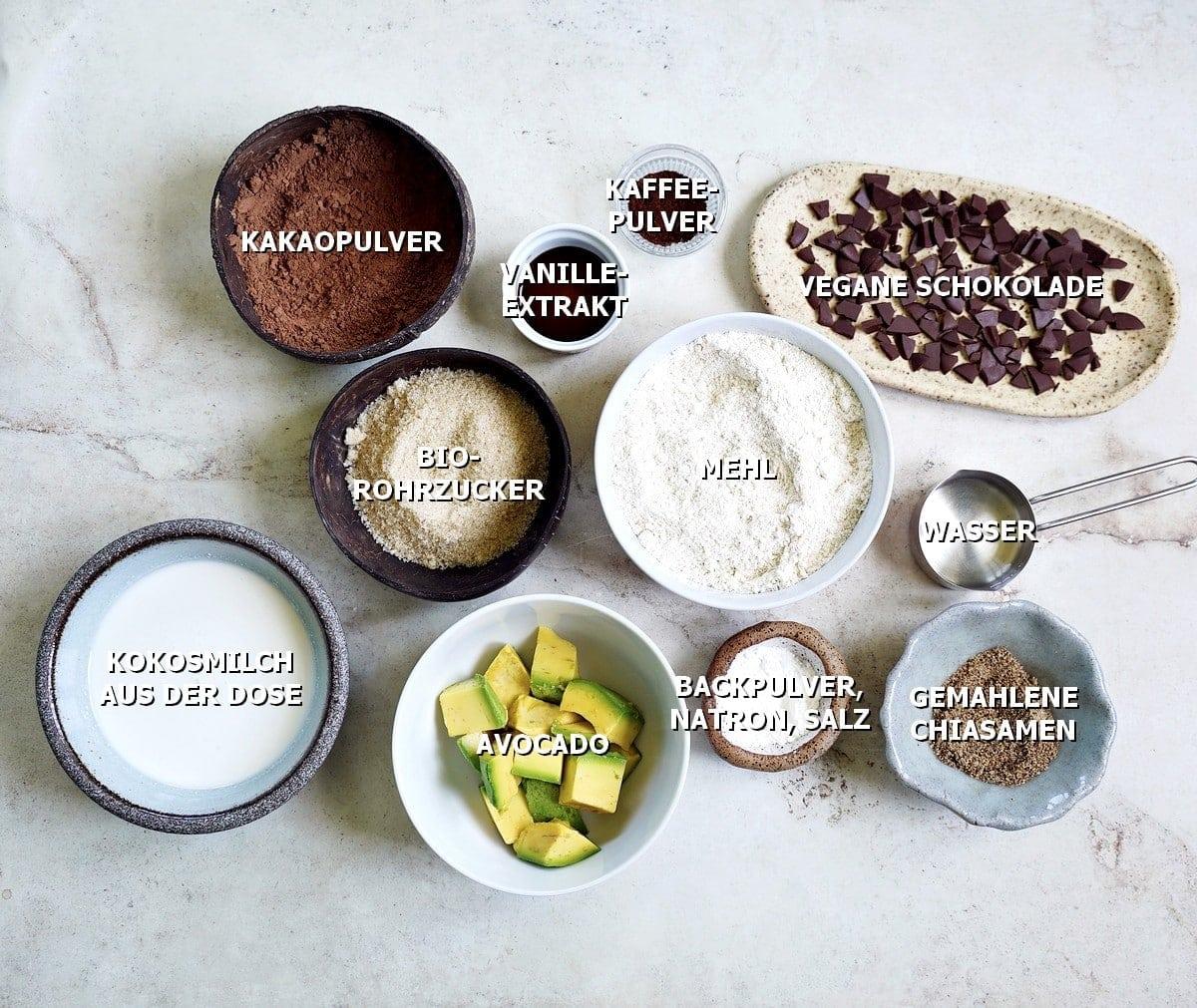 Zutaten für Avocado-Schokokuchen