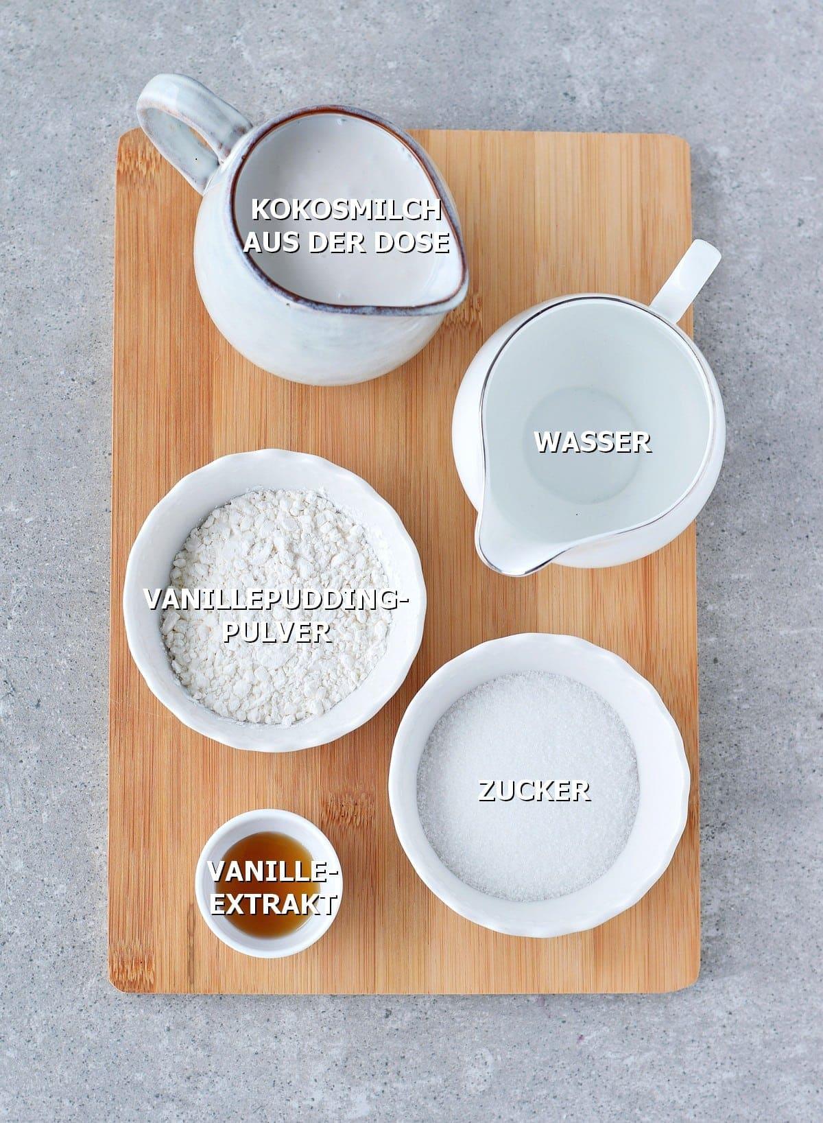 Zutaten für Pudding