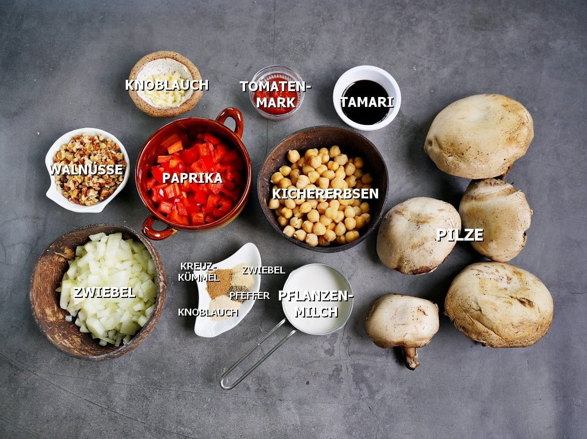 Zutaten für gefüllte Pilze