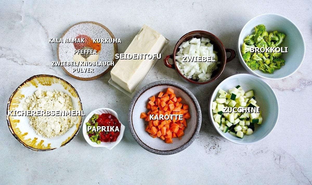Zutaten für vegane Eiermuffins