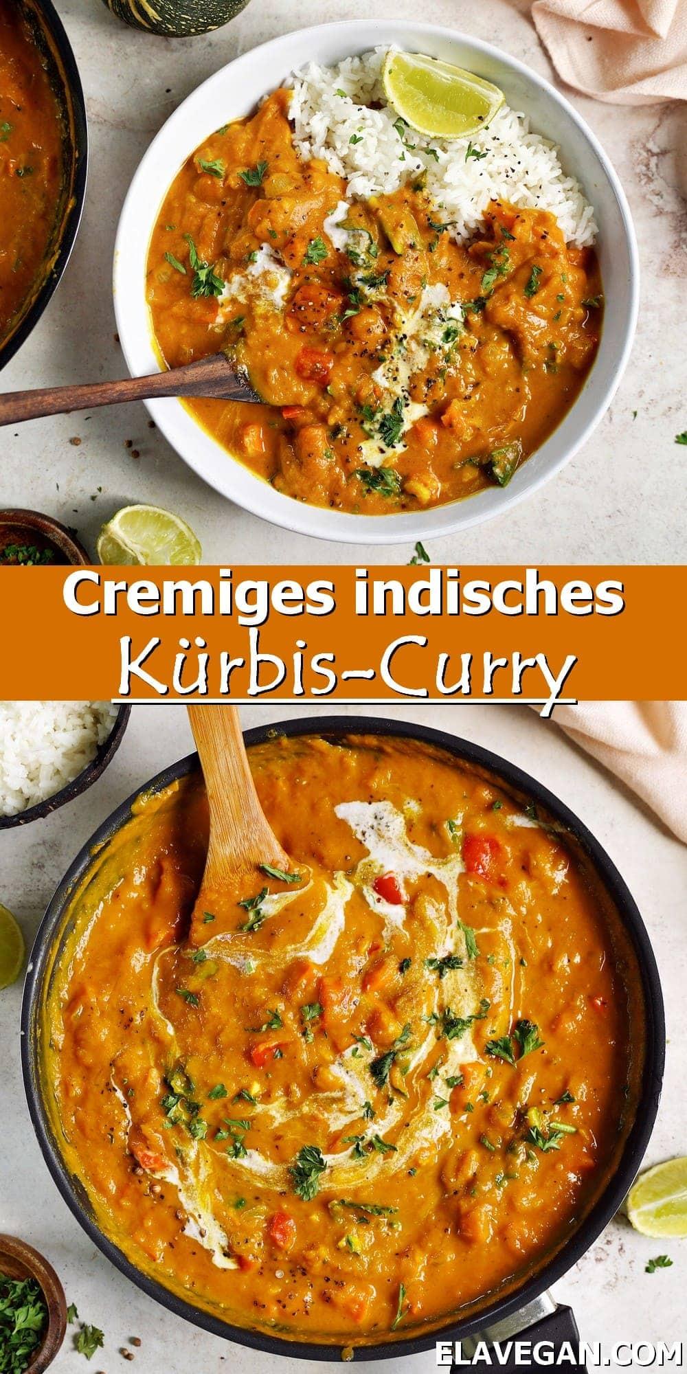 Pinterest Collage cremiges indisches Kürbis-Curry