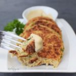 cauliflower patties recipe with a dipping sauce