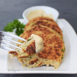 Gluten free vegan cauliflower patties recipe with a dipping sauce
