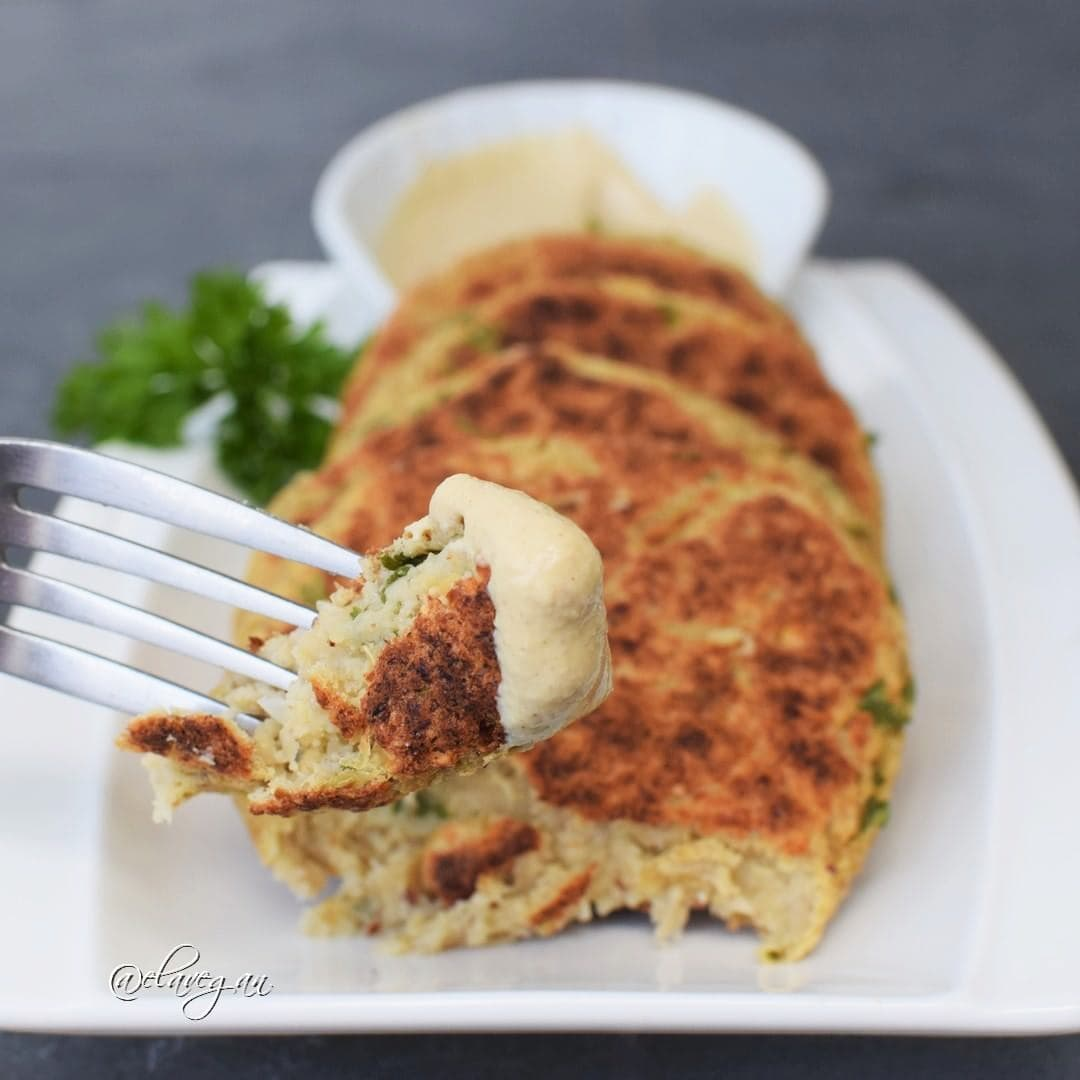 Gluten free vegan cauliflower patties recipe with cream cheese - plant-based burger patties