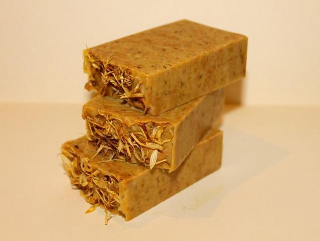 Homemade vegan beauty products calendula soap