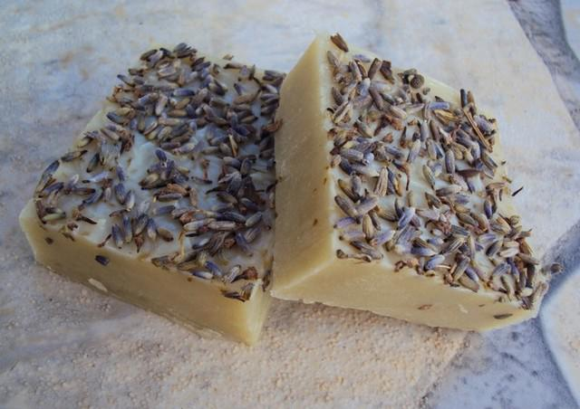 Homemade vegan beauty products lavender soap
