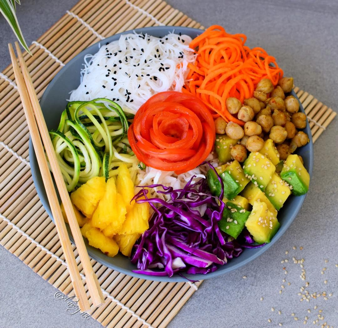 Vegan buddha bowl with rice noodles and avocado - plant-based and gluten free recipe