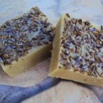 Homemade shampoo bar with lavender and clay