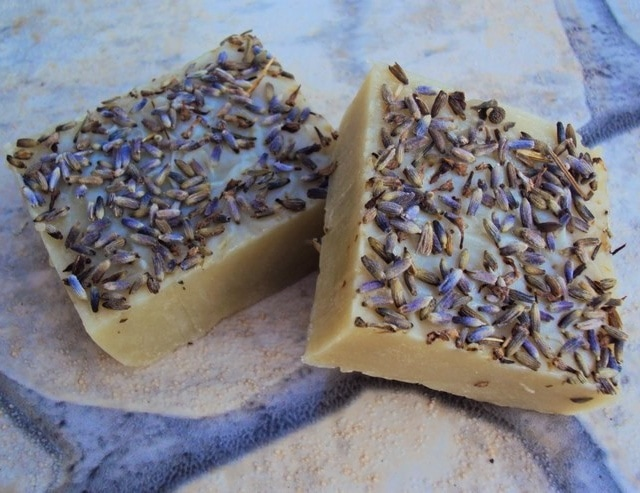 Homemade shampoo bar with lavender and clay, soap for hair