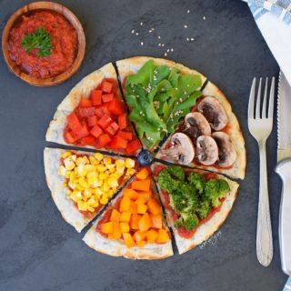 Sweet potato pizza dough with delicious veggies