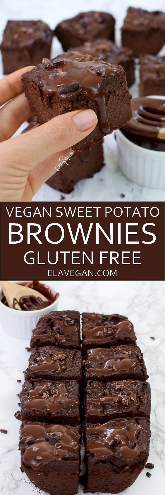 Vegan sweet potato brownies with a chocolate glaze. This is a healthy gluten-free, low-calorie, and low-fat, dairy-free recipe. These vegan brownies are fudgy, chocolatey and rich