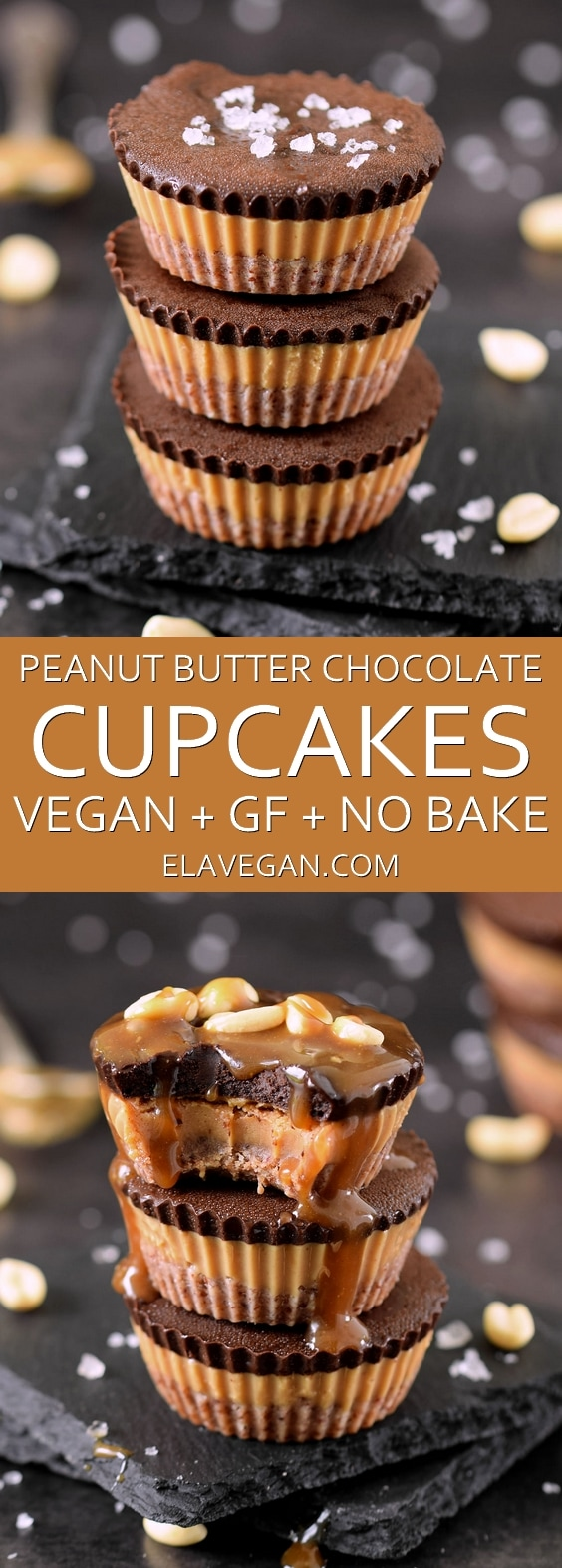 Vegan peanut butter chocolate cupcakes - a gluten free, refined sugar free and plant-based no bake dessert with peanuts and cacao nibs