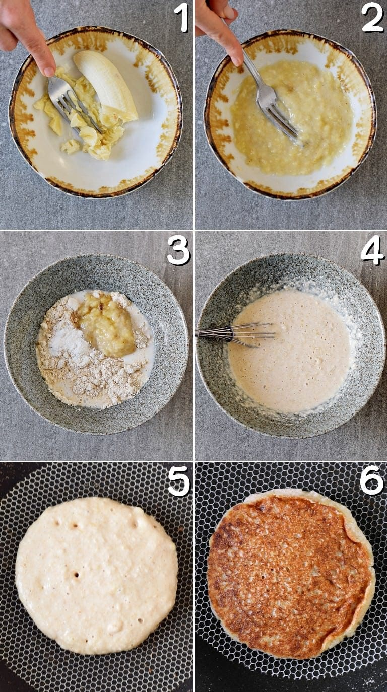 6 process shots of how to make vegan banana oat pancakes