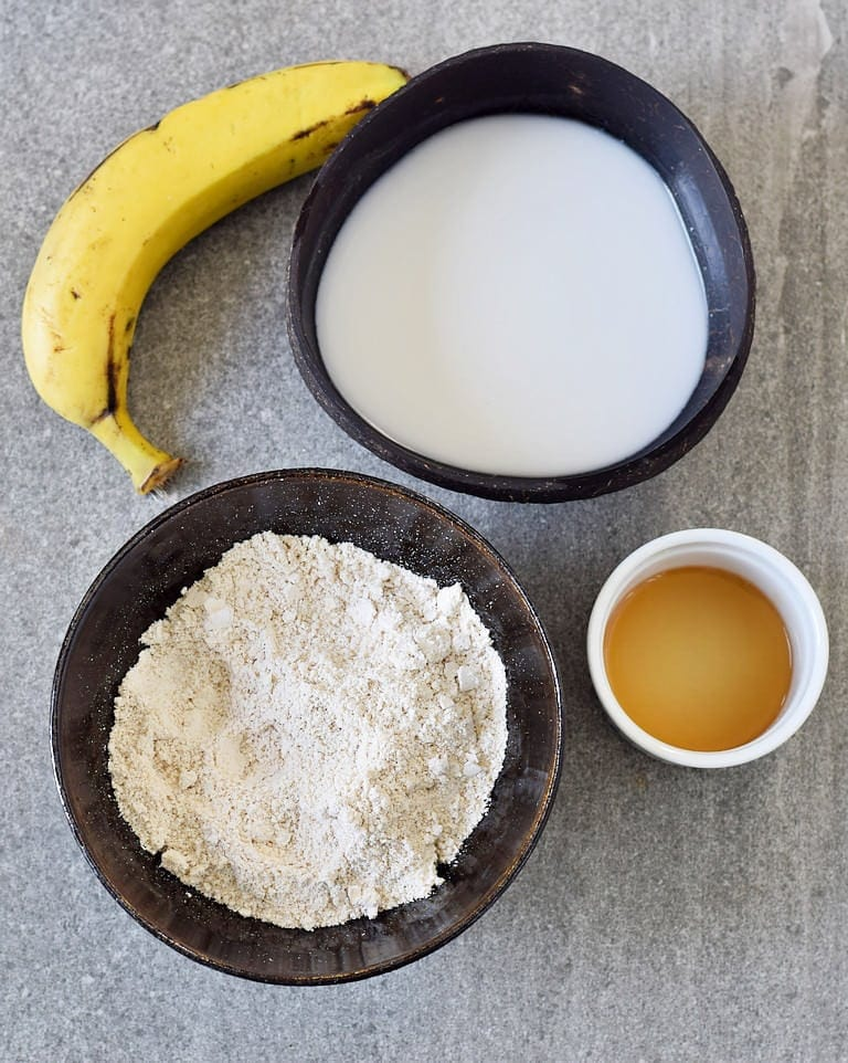 Oat flour, plant-based milk, banana, maple syrup