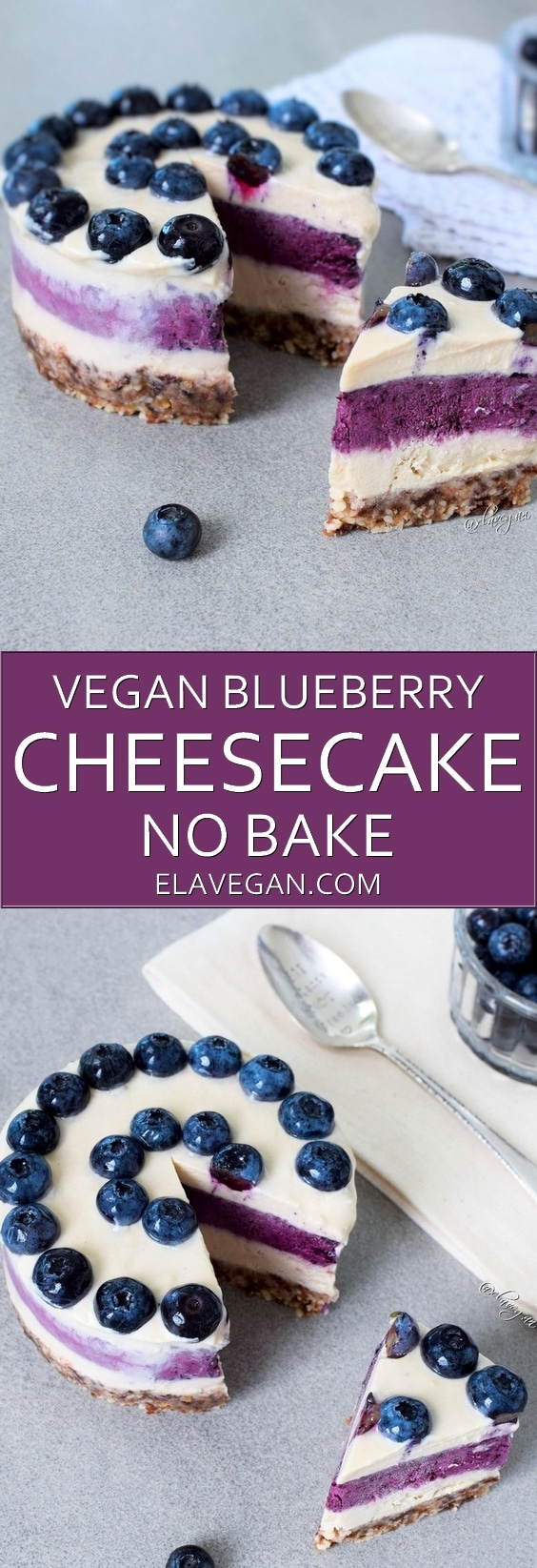 Raw (no-bake) vegan blueberry cheesecake recipe which is gluten-free
