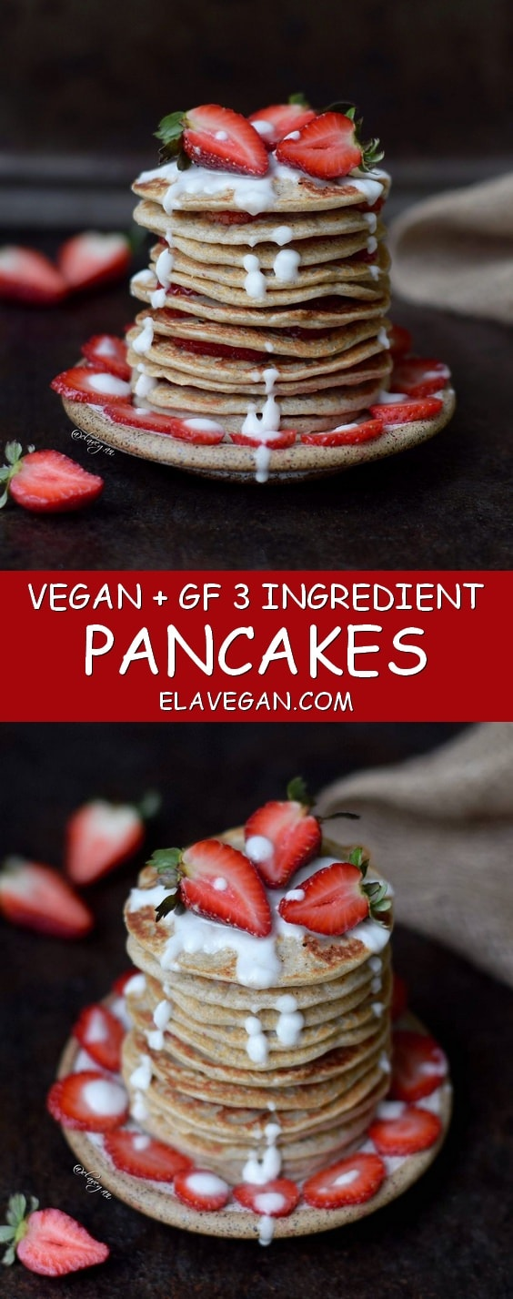banana oat pancakes a vegan and gluten free recipe which is low in fat and calories - healthy 3 ingredient pancakes