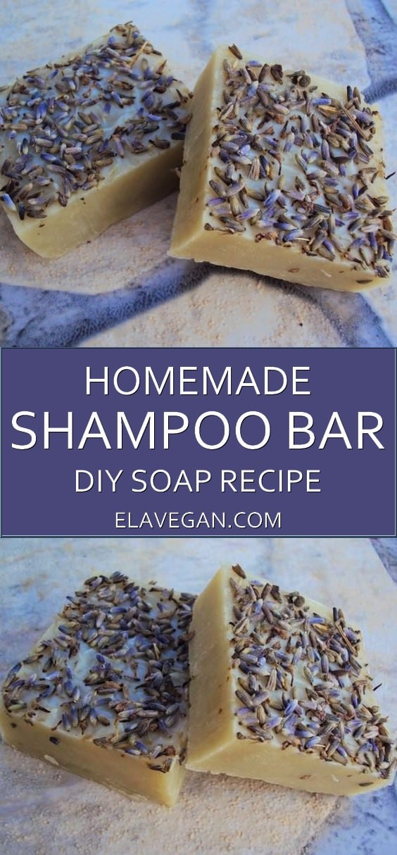 Homemade shampoo bar with lavender and clay, great soap for hair