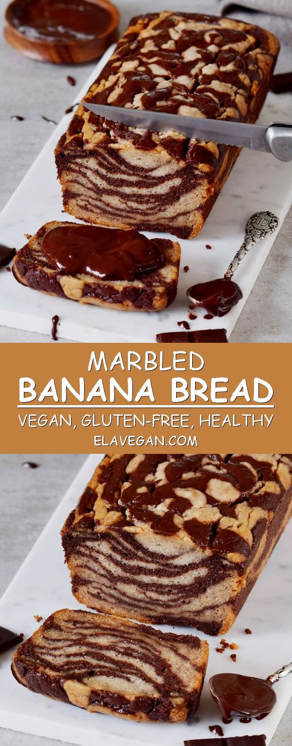 Marbled banana bread recipe vegan gluten-free healthy easy