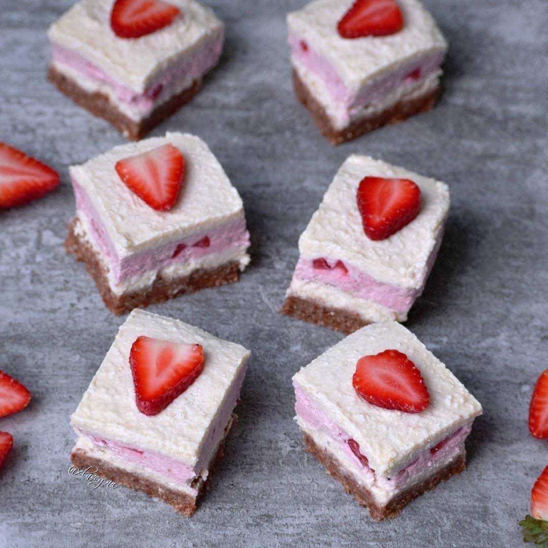 Strawberry coconut cheesecake bars vegan no bake recipe