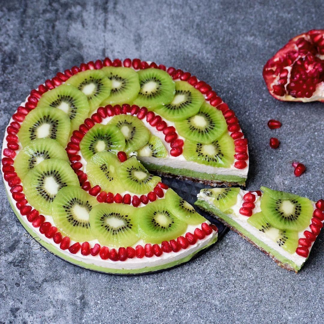 fruity cheesecake with kiwi and pomegranate a healthy gluten free pie