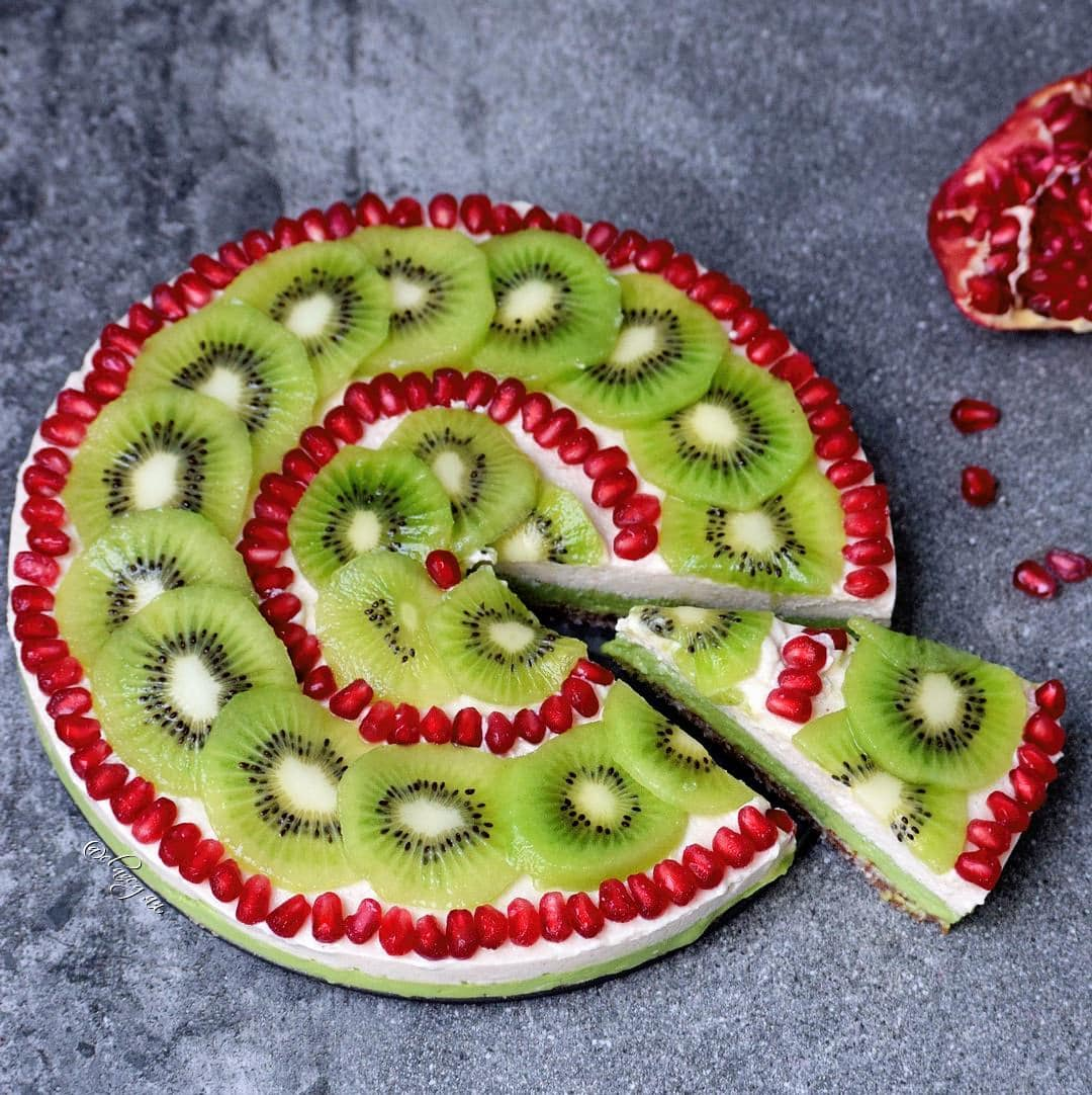 vegan fruit tart with kiwi and pomegranate